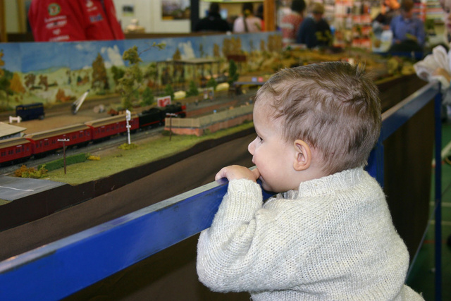 Hunter admiring a model train