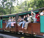 John & Co waving from Puffing Billy