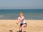 Irene demonstrating correct digging stance