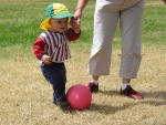 Aden Corke kicking a ball at Jells park