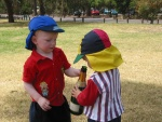 Grant Roberts and Aden Corke getting into the grog...