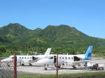 Rarotonga airport - we were about to board these planes to go to Aitutaki
