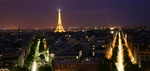 Eiffel Tower by night, from top of the Arc de Triumph, Paris France