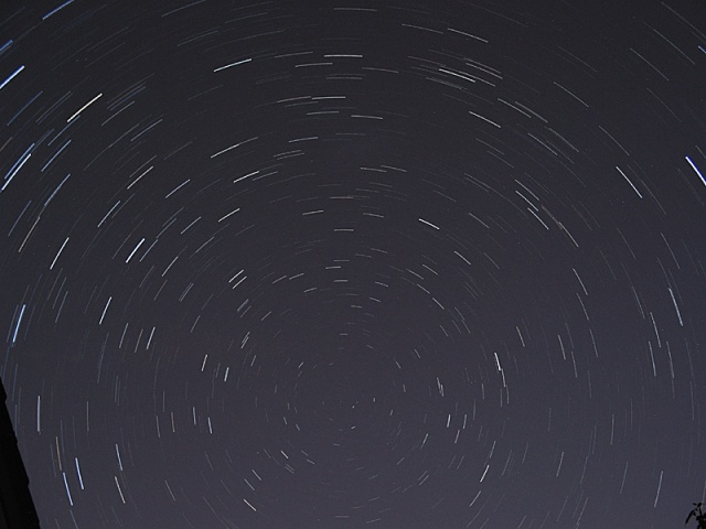 25 minute star trails.  Canon G2 digital, 30x15second exposures combined in photoshop.